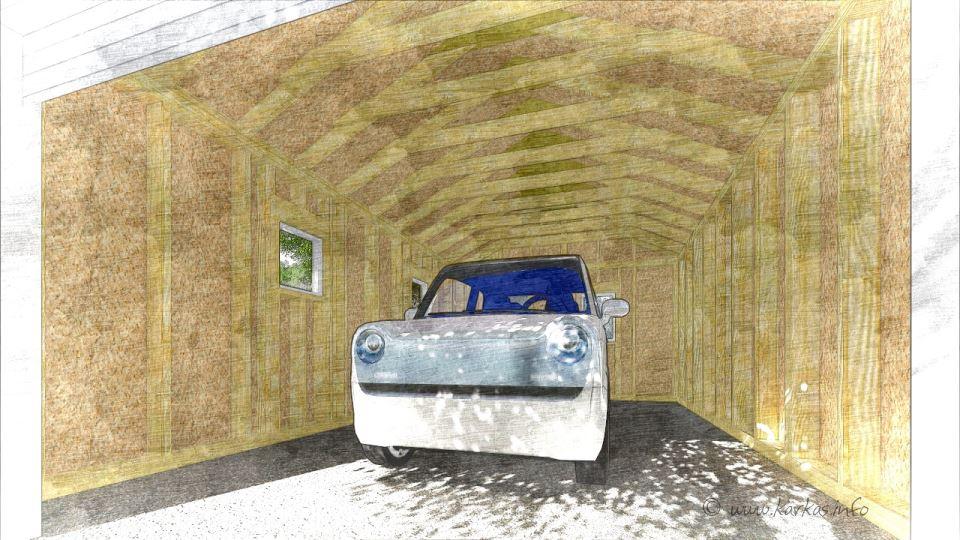 Вид каркасного гаража