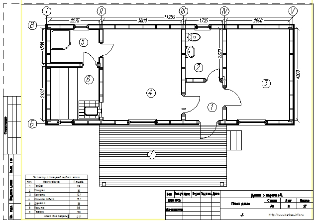 План каркасной бани КБ-41