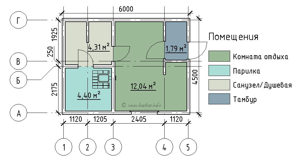 План каркасной бани КБ-21 Болдино