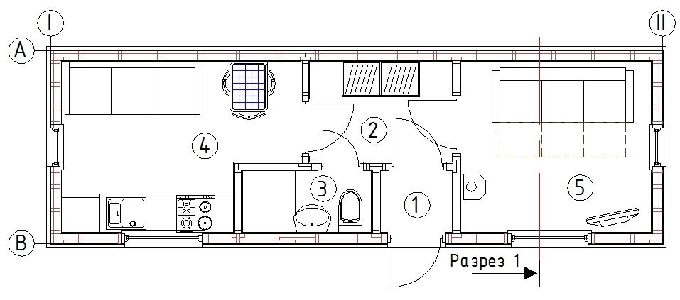 План бытовки КД-23