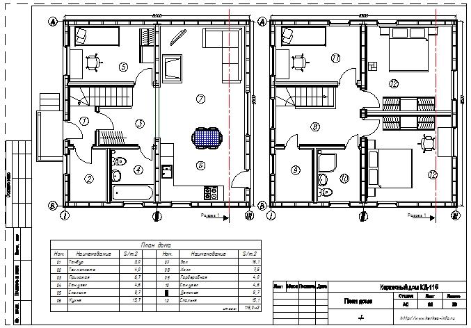 Планировка каркасного дома КД-115 Ямуга