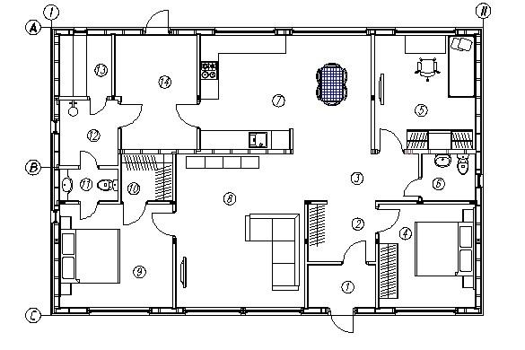 Планировка каркасного дома КД-121 Фьорд