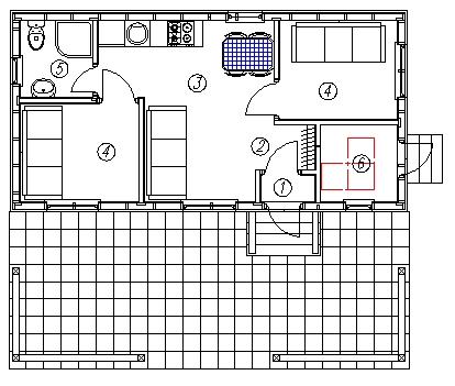 План каркасного дома-бытовки Раума (КД-34)
