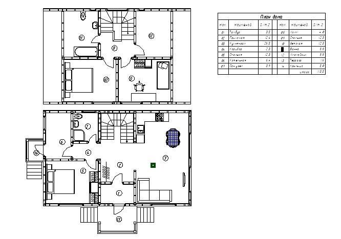 Планировка каркасного дома Эменн (КД-114)