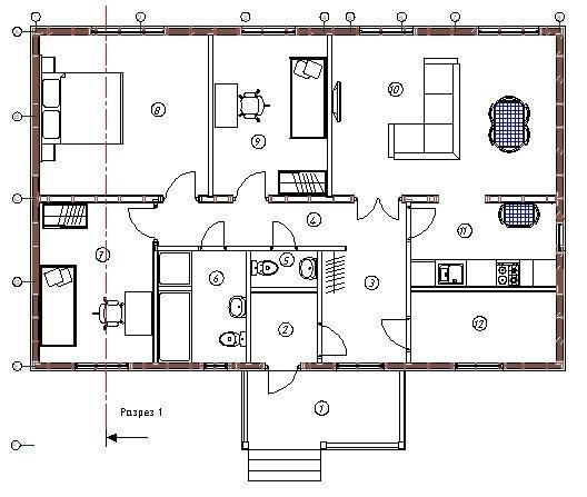 Планировка каркасного дома Хеллевад (КД-103)