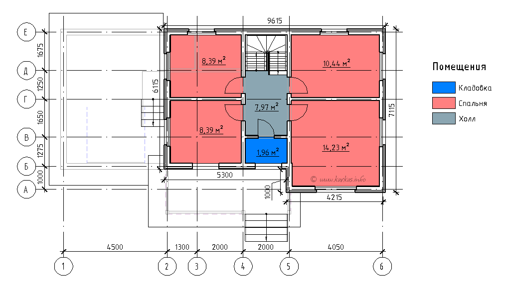 План мансардного этажа каркасного дома Монтана 104