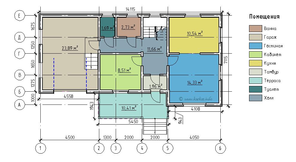 План первого этажа каркасного дома Монтана 104