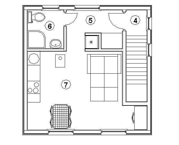 План второго этажа каркасного гаража Орегон (КГ-61)