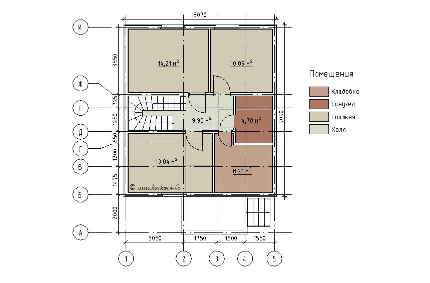 План мансардного этажа каркасного дома Реус 129