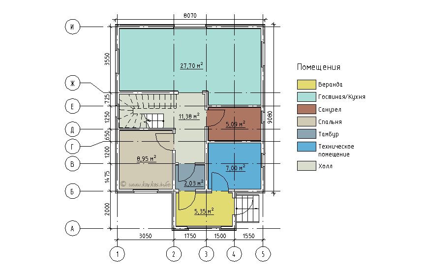 План первого этажа каркасного дома Реус 129