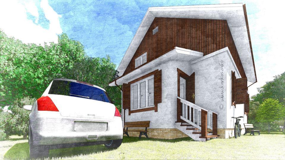 Вид каркасного дома Реус 129