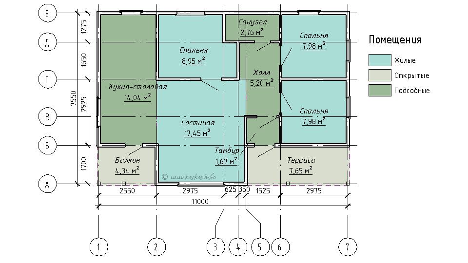 План каркасного дома Иллинойс 65