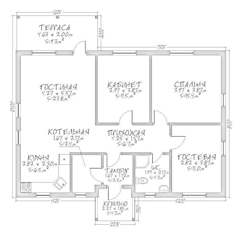 План каркасного дома Оклахома 86