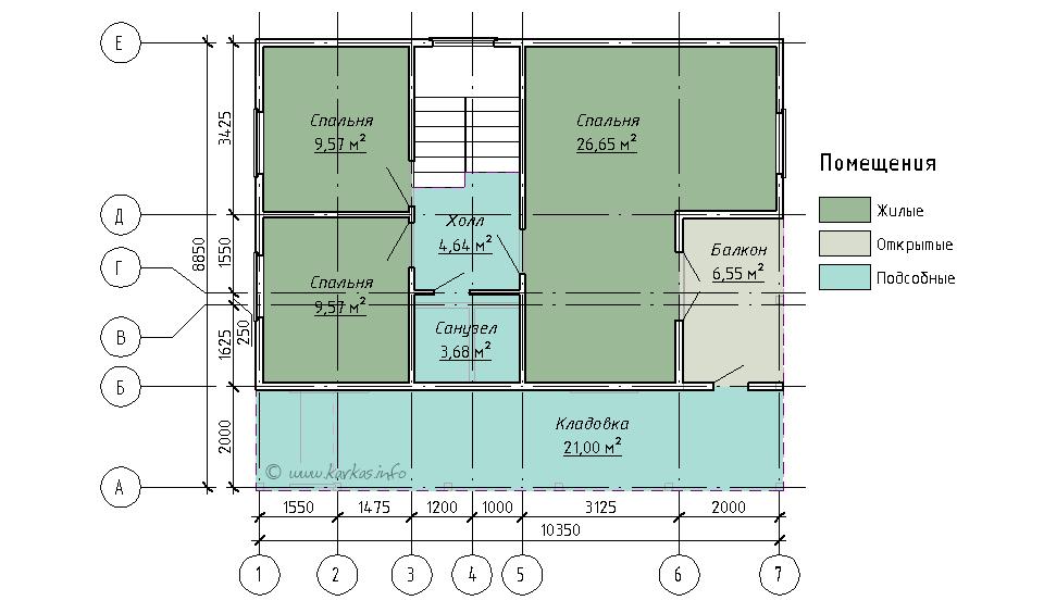 План мансардного этажа каркасного дома Вайоминг 108