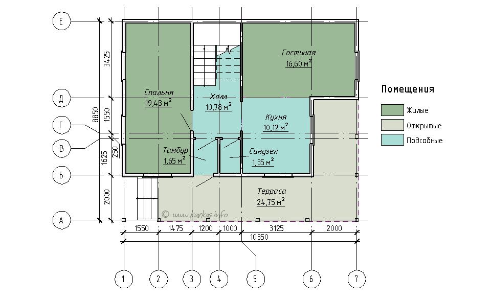 План первого этажа каркасного дома Вайоминг 108