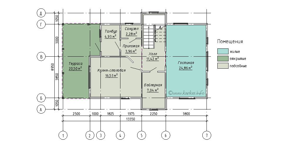 План первого этажа каркасного дома Индиана 133