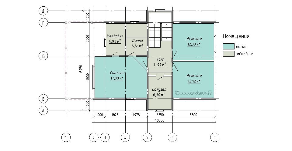 План второго этажа каркасного дома Индиана 133