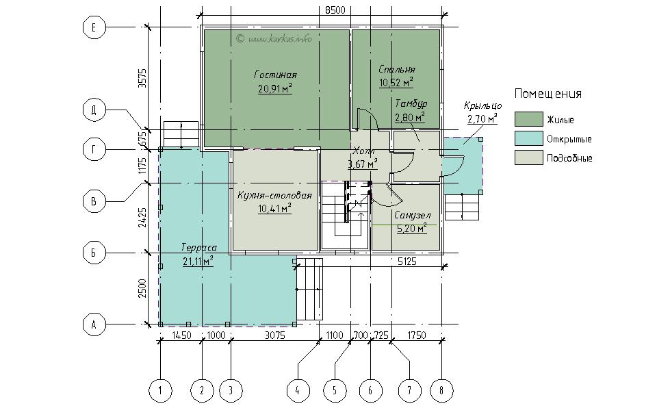 План первого этажа каркасного дома Вирджиния 105