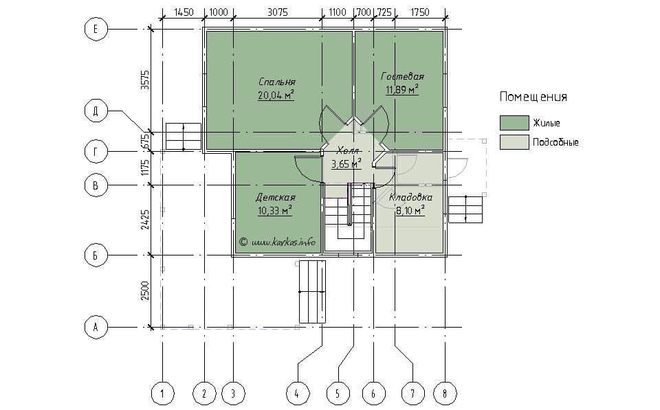 План мансардного этажа каркасного дома Вирджиния 105