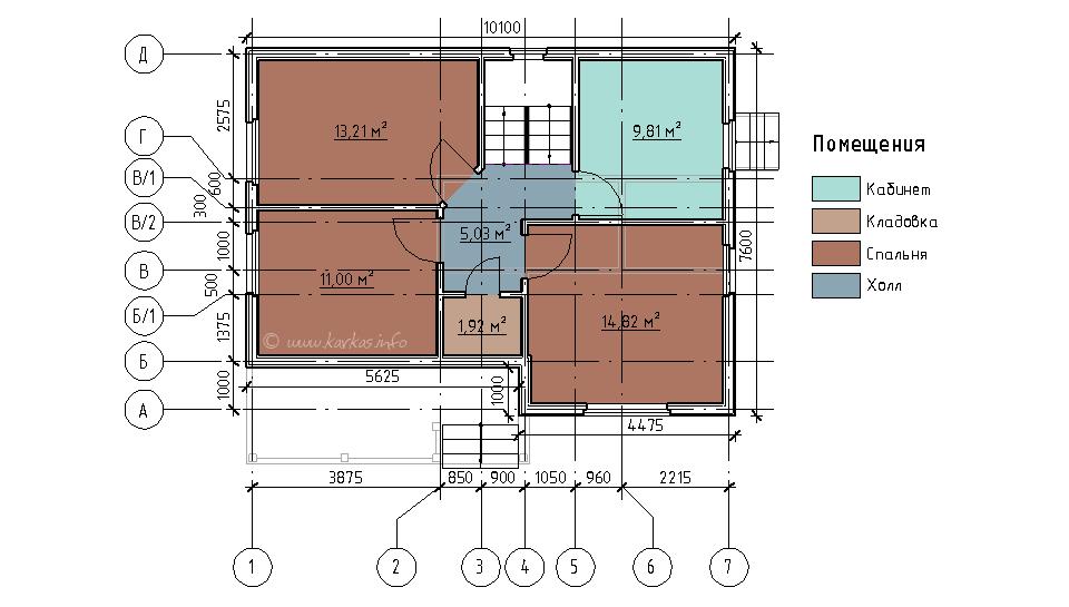 План мансардного этажа каркасного дома Коламбия 110