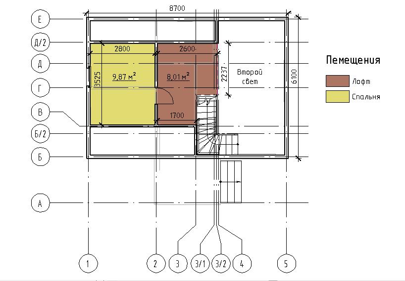 План мансарды проекта Дарина 67