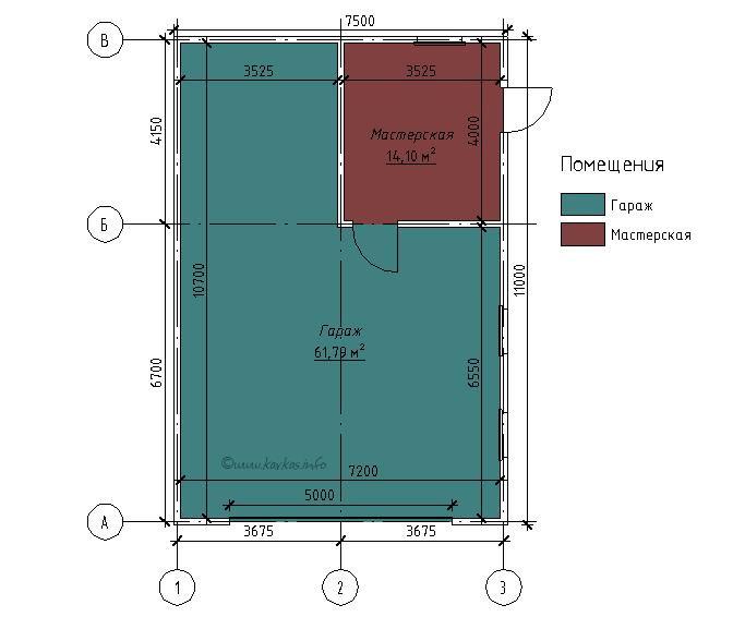 План каркасного гаража Детройт 75