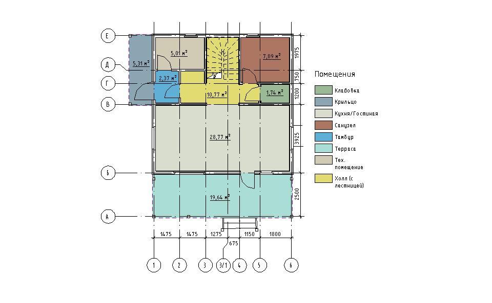 План первого этажа каркасного дома Мерилэнд 108