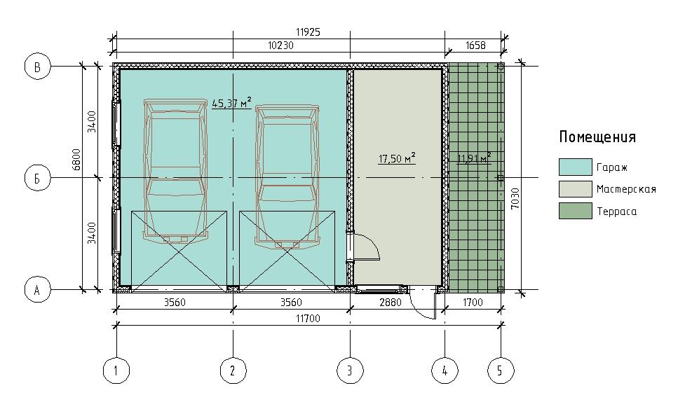 План каркасного гаража на две машины с мастерской