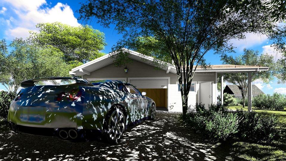 Вид каркасного гаража на две машины с мастерской