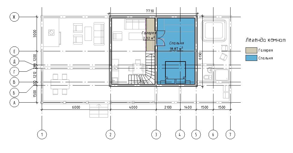 План мансардного этажа гостевого дома с баней