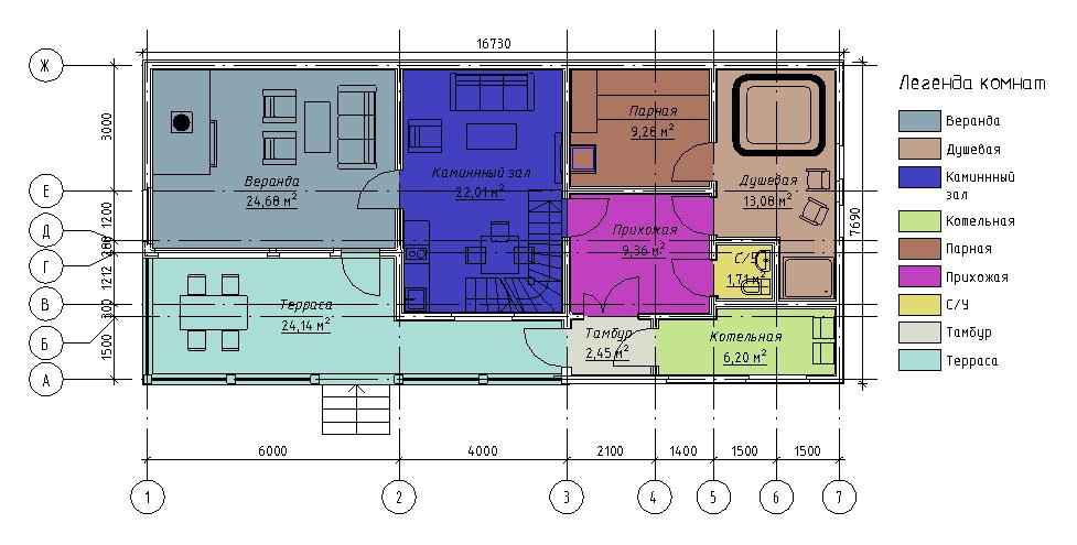 План первого этажа гостевого дома с баней