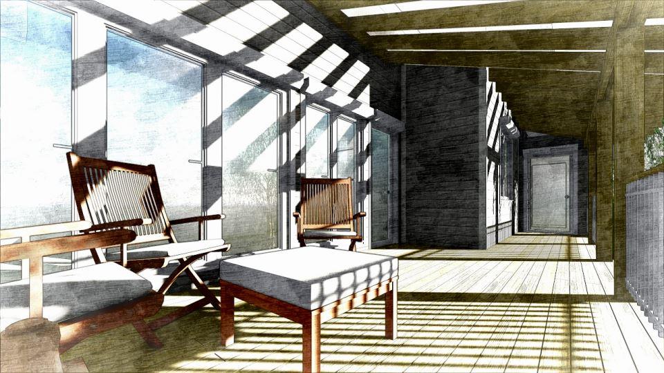 Вид террасы гостевого дома с баней