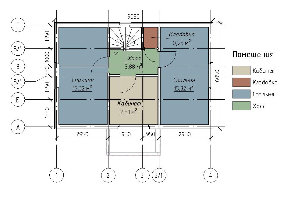 План мансардного этажа каркасного дома Линка 89