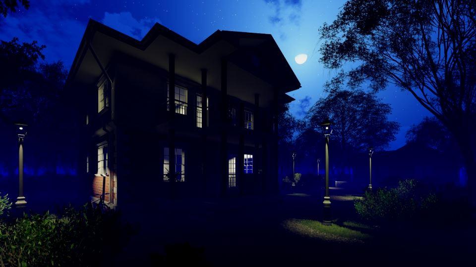 Ночной вид каркасного дома Техас 136