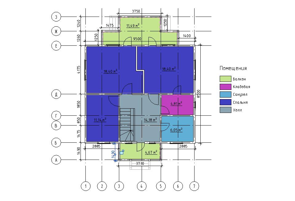 План второго этажа каркасного дома Техас 136