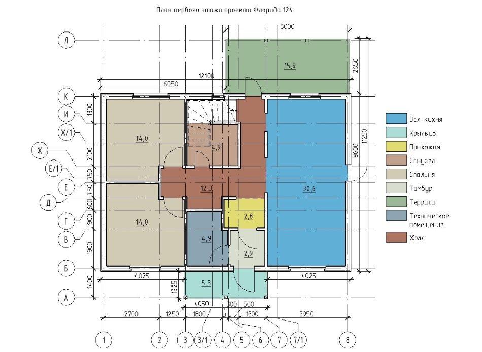 План первого этажа каркасного дома Флорида 124
