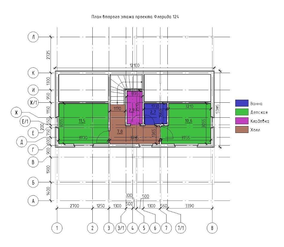 План второго этажа каркасного дома Флорида 124