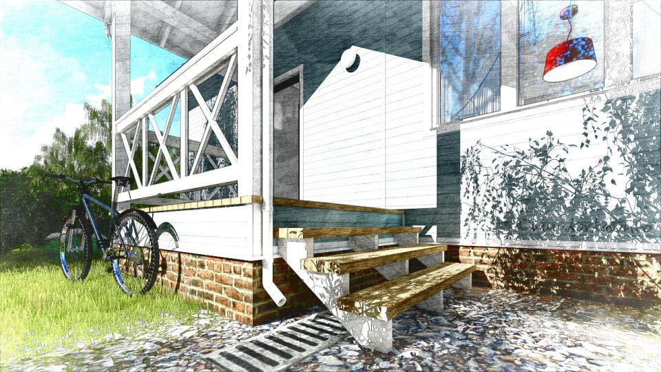 Крыльцо каркасного дома Дарина 67