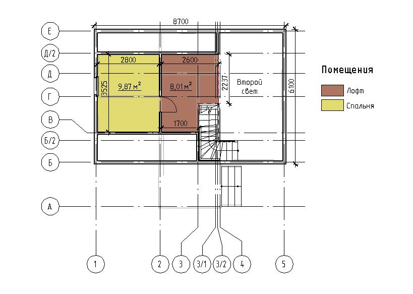 План мансарды каркасного дома Дарина 67
