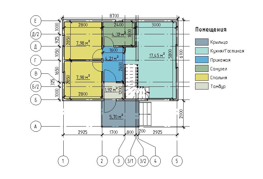 План первого этажа каркасного дома Дарина 67