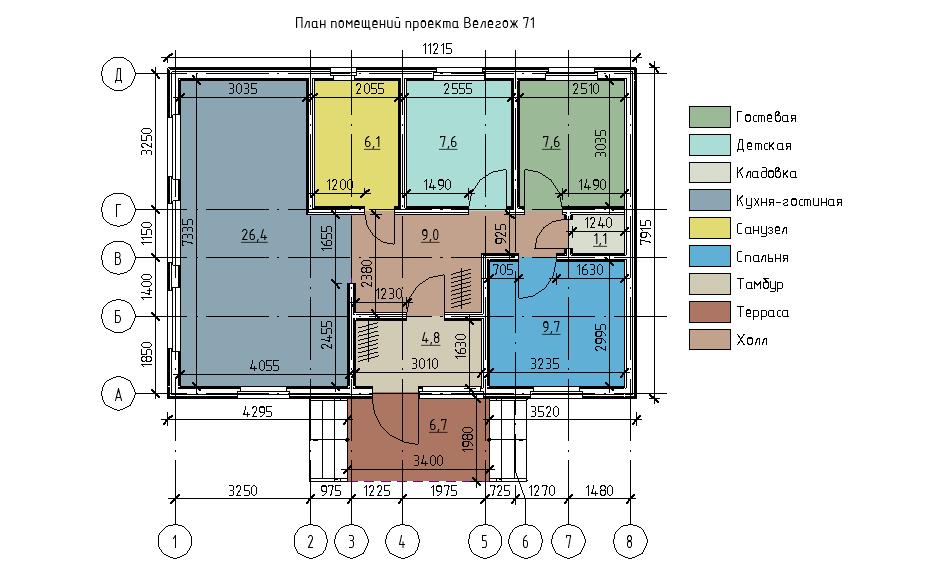 План каркасного дома Велегож 71.