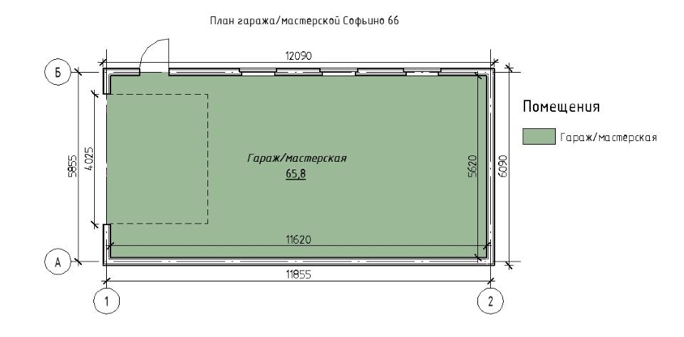 Каркасный гараж-мастерская Софрино 66