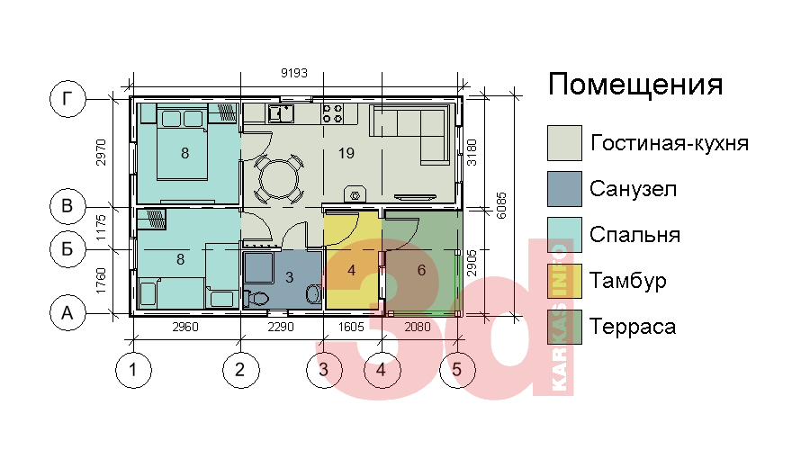 План каркасного дома Приозерье 42
