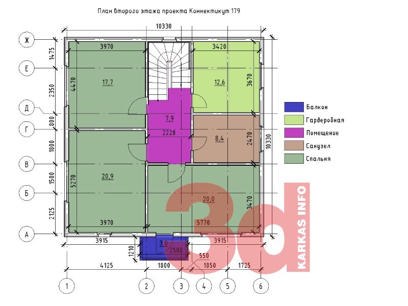 План второго этажа каркасного дома Коннектикут 179