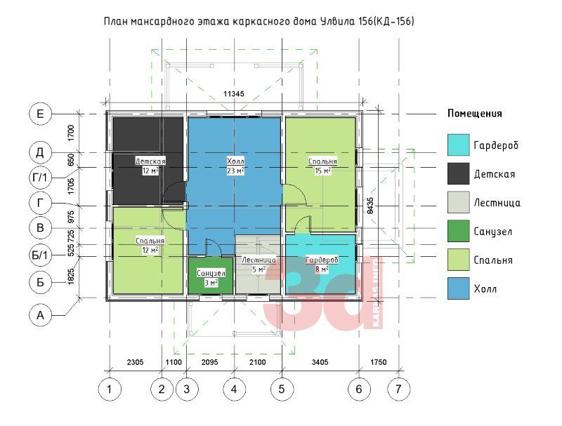 План мансардного этажа каркасного дома Улвила 156