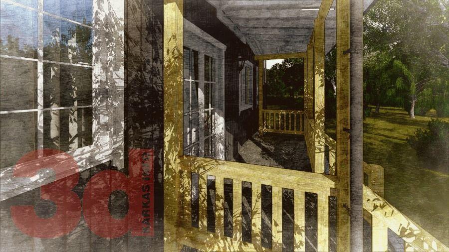 Терраса каркасного дома Улвила 156