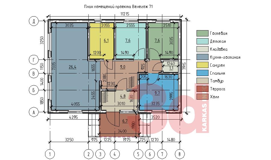 План каркасного дома Велегож 71