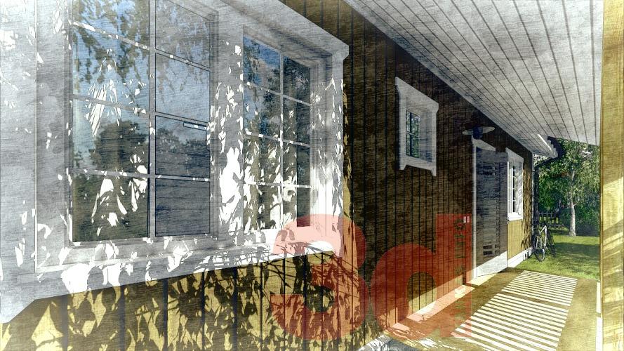 Терраса каркасного дома Айова 69