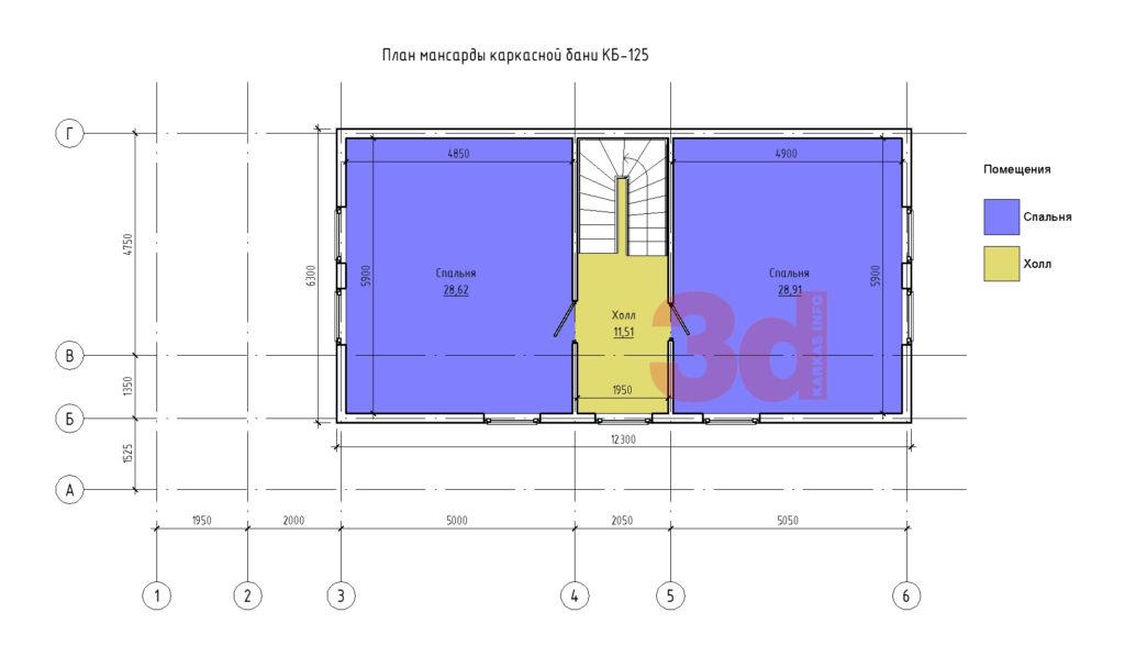 План мансардного этажа каркасного комплекса КБ-125