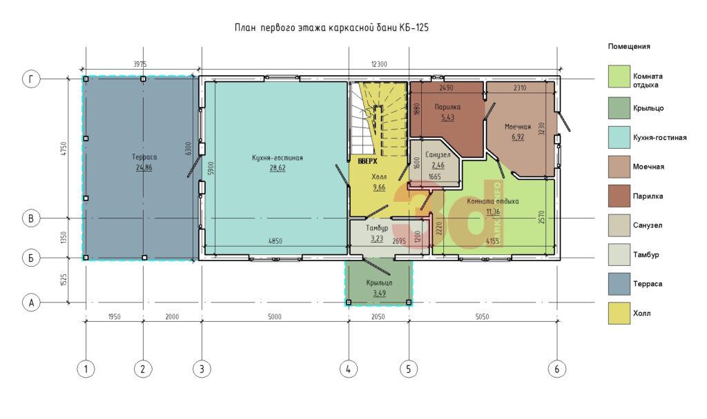План первого этажа каркасного комплекса КБ-125